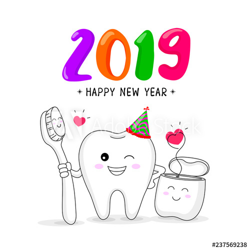 vector free stock Cute cartoon tooth character. Vector dental happy new year