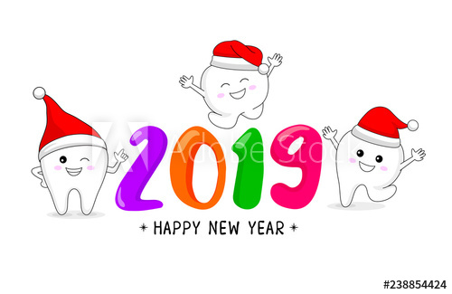 graphic free library Vector dental happy new year. Cute cartoon tooth character
