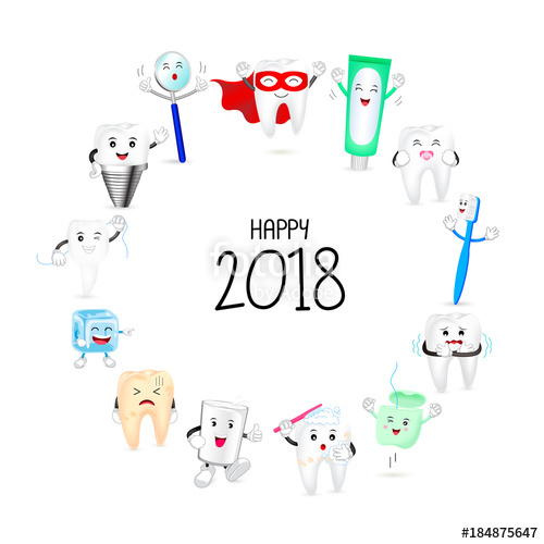 clip art black and white Vector dental happy new year. Cute cartoon tooth character