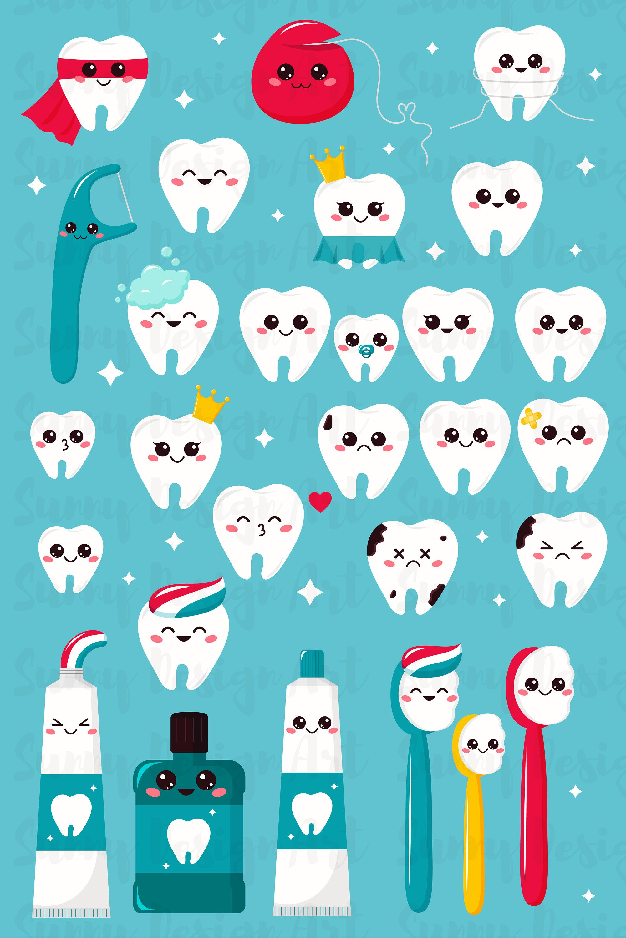 vector transparent Clipart tooth toothbrushes toothpaste. Vector dental kawaii