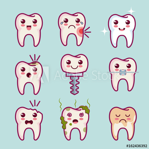 clip art black and white stock Vector dental kawaii. Teeth set over light