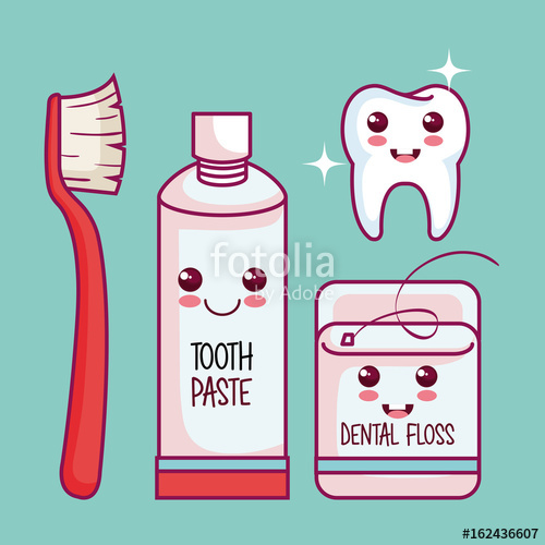 svg royalty free Healthy tooth and kit. Vector dental kawaii