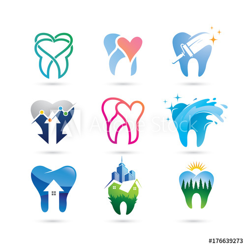 clip transparent library Vector dental logo. Set of dent dentistry