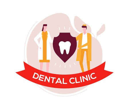 image free library Vector dental male female. Clinic colorful flat design
