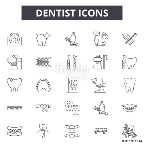 clipart Dentist line icons signs. Vector dental tooth outline