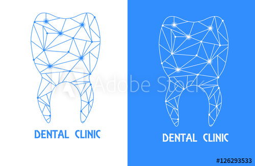 image black and white download Vector dental tooth outline. Health symbol stylized polygons