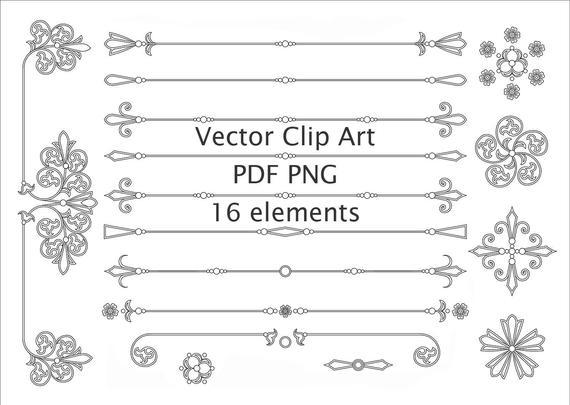 png black and white download Page Divider Vector Clipart Line Dividers Text Divider Clipart Border  Clipart Vintage vector decoration ornament Digital frame SVG pdf png