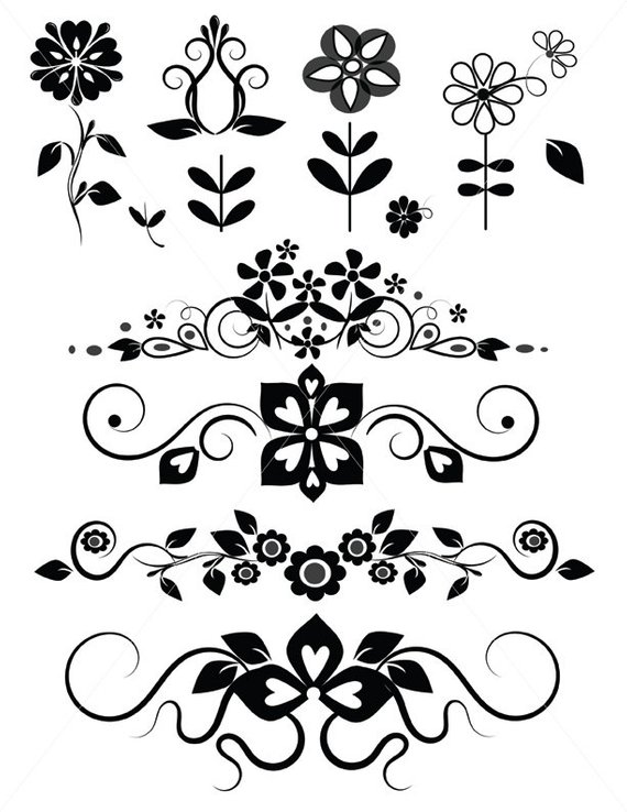 banner free download Svg flowers floral divider. Vector dividers flower