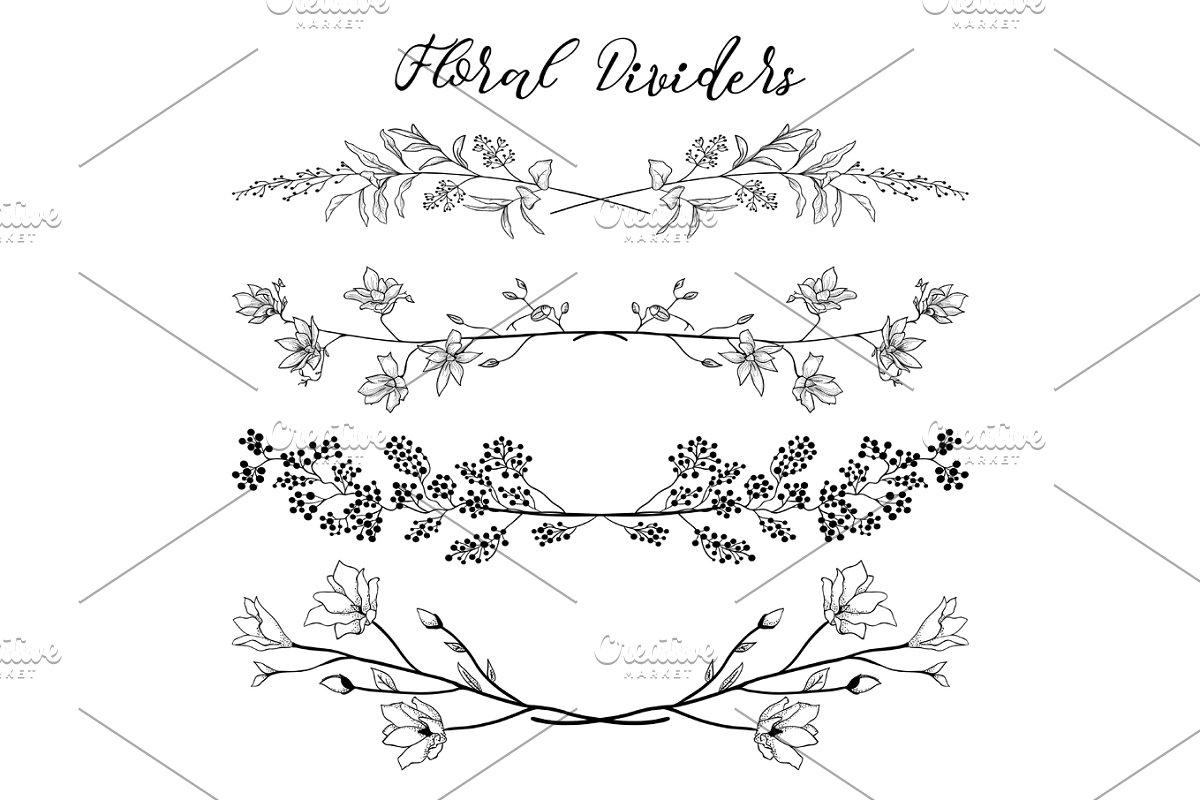 banner black and white download Vector dividers flower. Black with branches plants