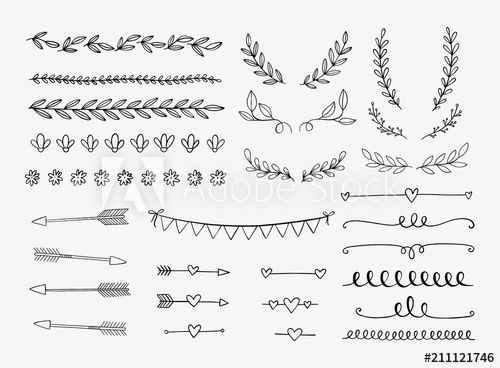 svg black and white stock Vector dividers hand drawn. Laurels swirls and arrows
