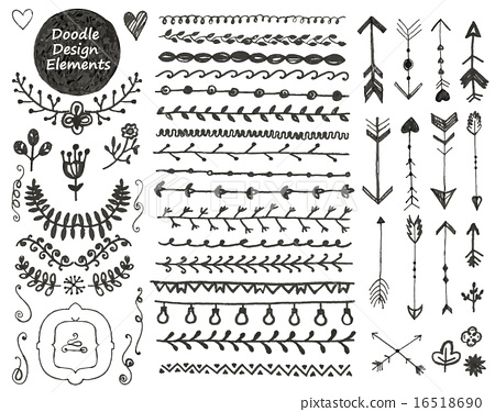 png black and white library Vector dividers hipster. Floral decor set collection