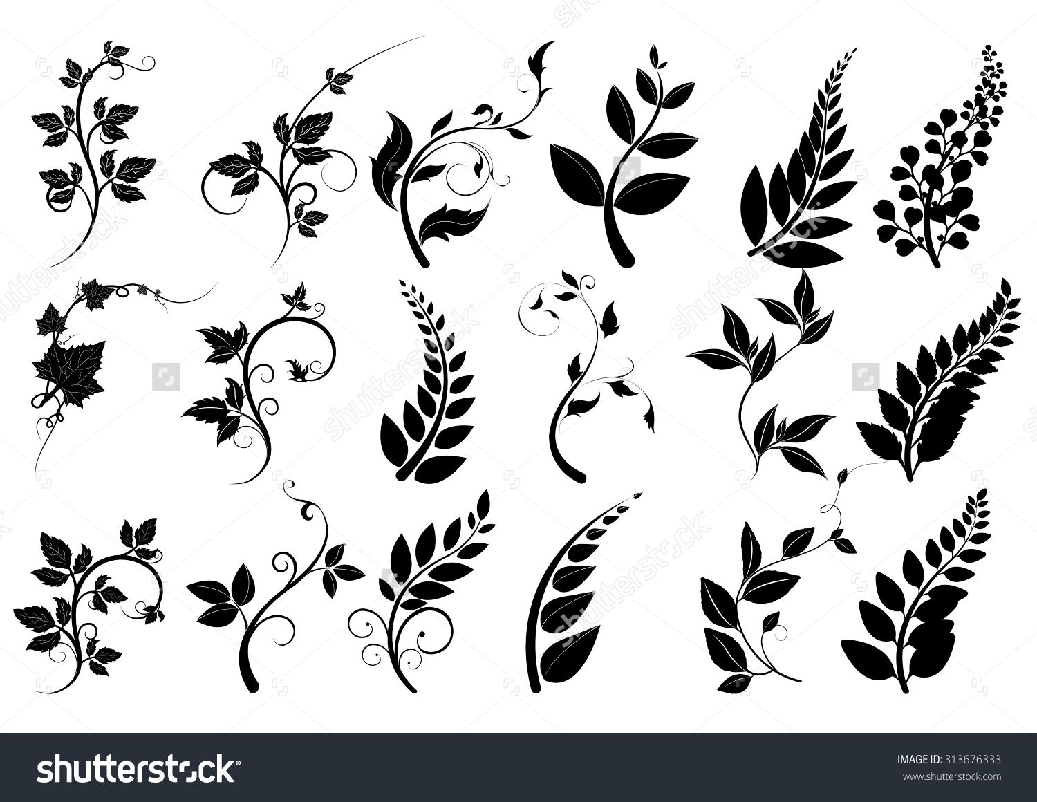 jpg freeuse Silhouettes of trees leaves. Vector dividers leaf