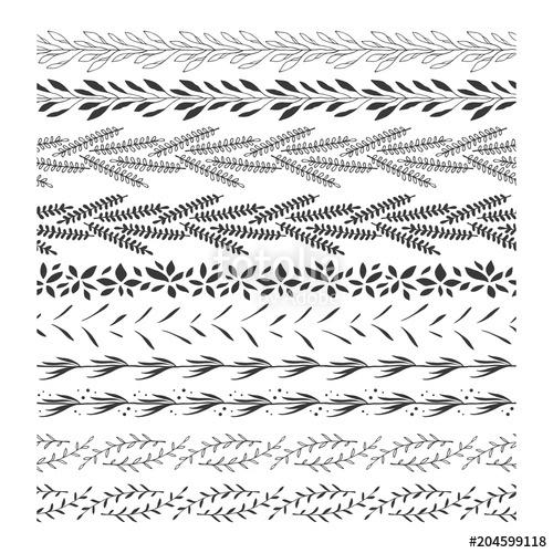 transparent download Hand drawn floral borders. Vector dividers leaf