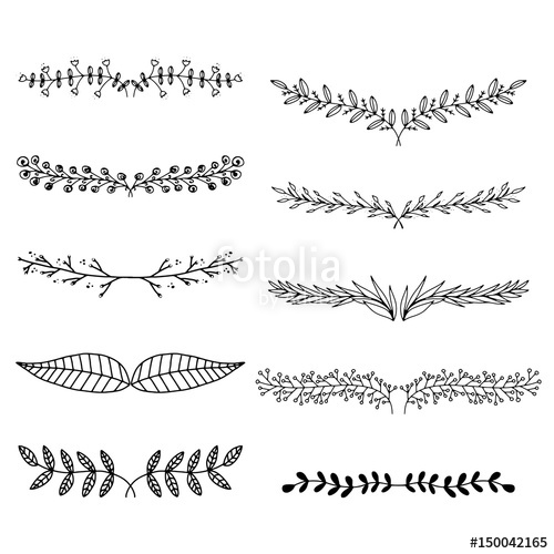png free download Text hand drawn branches. Vector dividers leaf