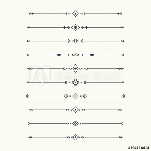 banner freeuse stock Set isolated geometric horizontal. Vector dividers minimalist