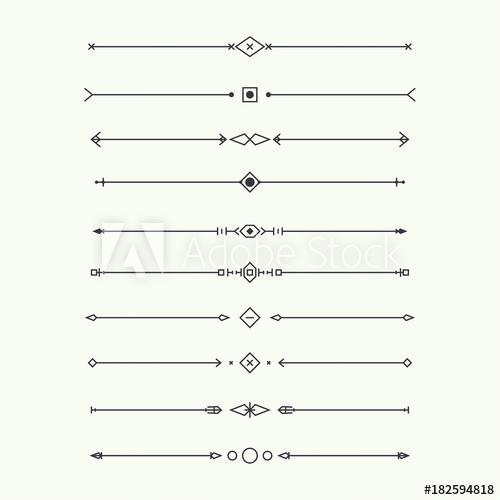 banner freeuse stock Vector dividers minimalist. Set isolated geometric horizontal