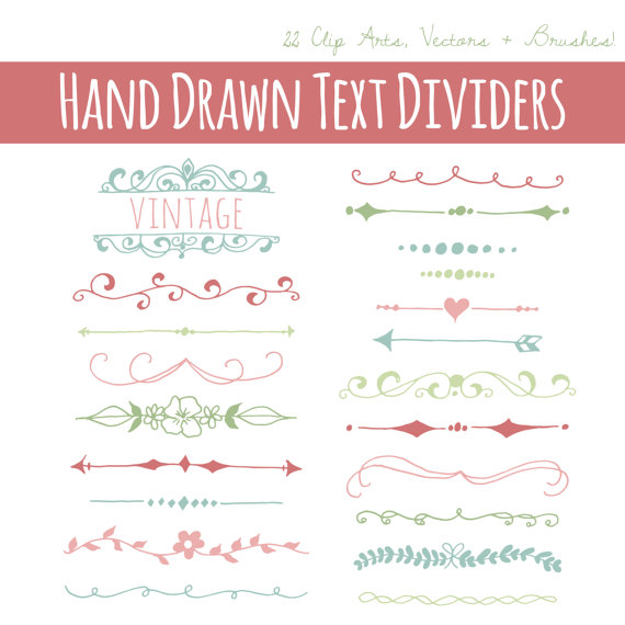 graphic royalty free download Vector dividers ribbon. Text clipart set hand.