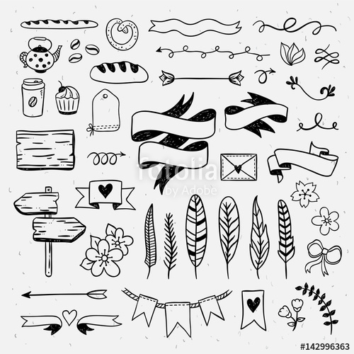 png free stock Vintage hand drawn graphic. Vector dividers ribbon.