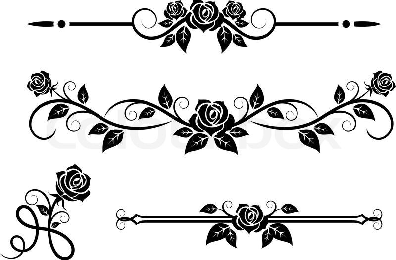 jpg free download Vector dividers rose. Flowers with vintage elements