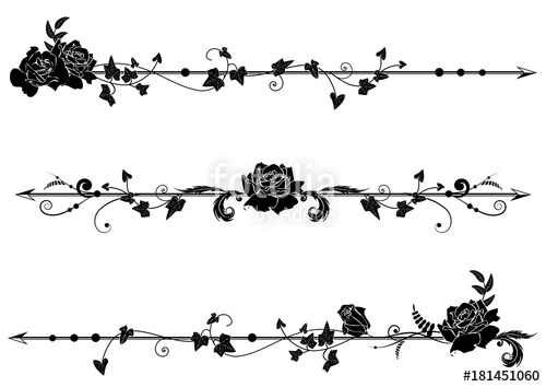 vector download With roses and ivy. Vector dividers rose