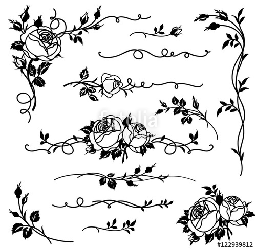 graphic transparent library Vector dividers rose. Set of calligraphic elements
