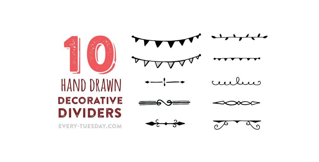 clipart stock Vector dividers script. Freebie hand drawn decorative