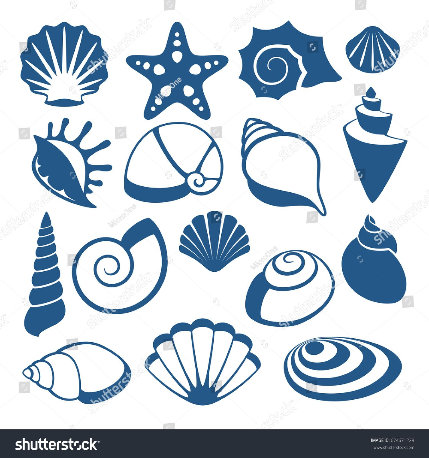 png library download Sea shell silhouette icons. Vector dividers seashell