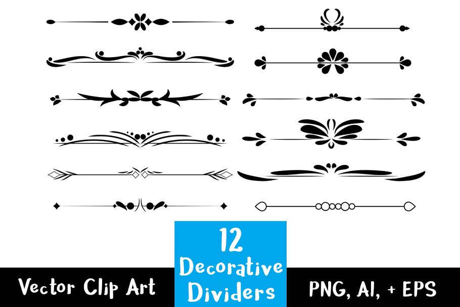 vector black and white download  decorative vintage text. Vector dividers word