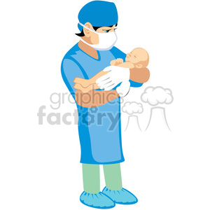 clipart black and white Vector doctor cabin. Holding newborn baby clipart