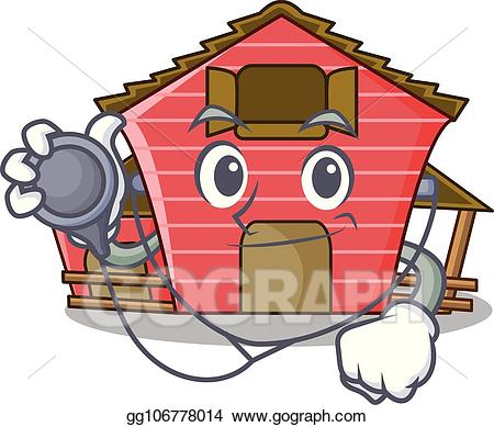 png royalty free stock Stock character red barn. Vector doctor cabin