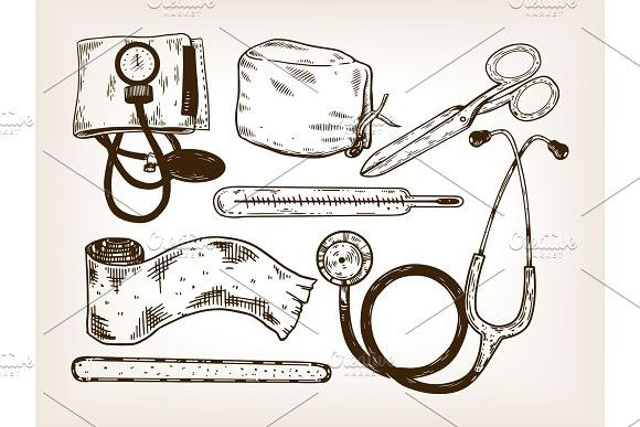 clip art library download Vector doctor drawing. Tools engraving illustration