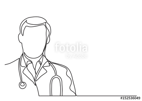 banner transparent download Vector doctor drawing. With stethoscope continuous line.