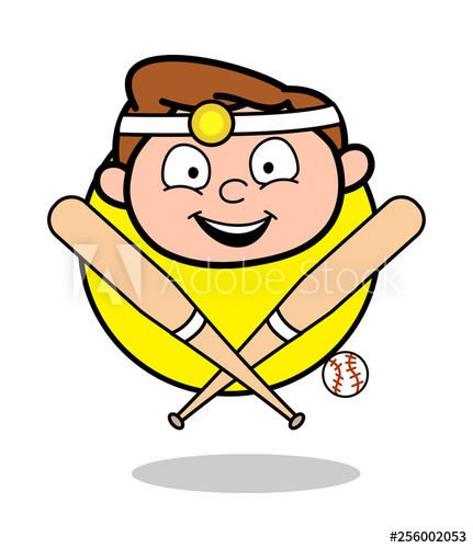 vector black and white Vector doctor face. Cartoon happy with baseball