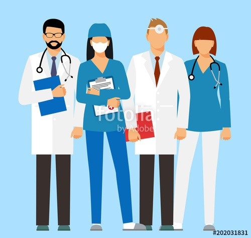 graphic transparent stock Doctors and assistant in. Vector doctor face