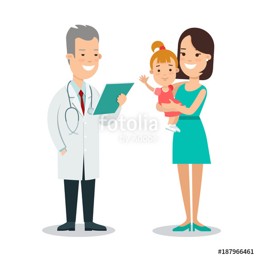 clip black and white Flat children characters mother. Vector doctor family