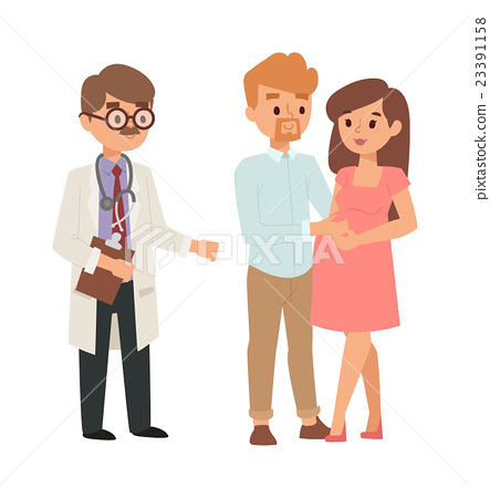 clip freeuse library Pregnant woman and stock. Vector doctor family