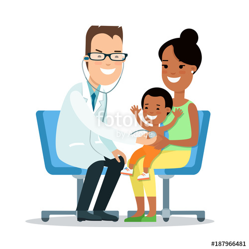 clip black and white Vector doctor family. Flat children characters mother