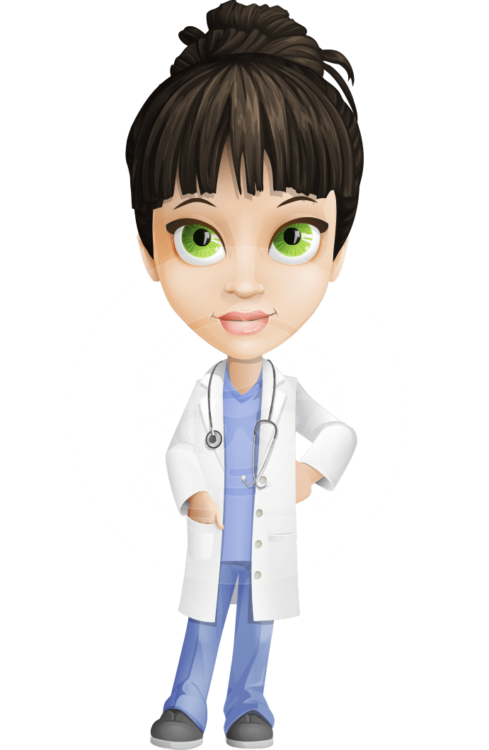 clipart black and white library Vector doctor female. Delicate character dr fran