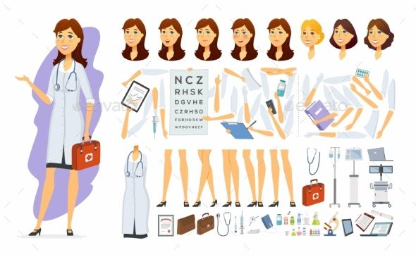 library Vector doctor female. Cartoon people character