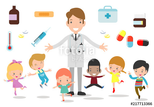 vector freeuse library And kids standing together. Vector doctor happy