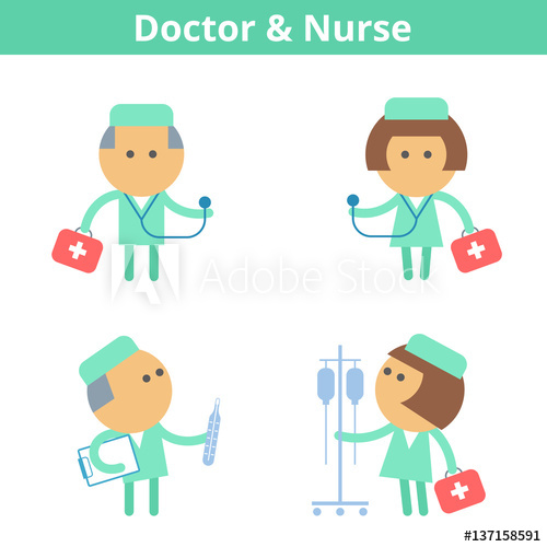 clipart library Vector doctor medic. Occupations cartoon character set