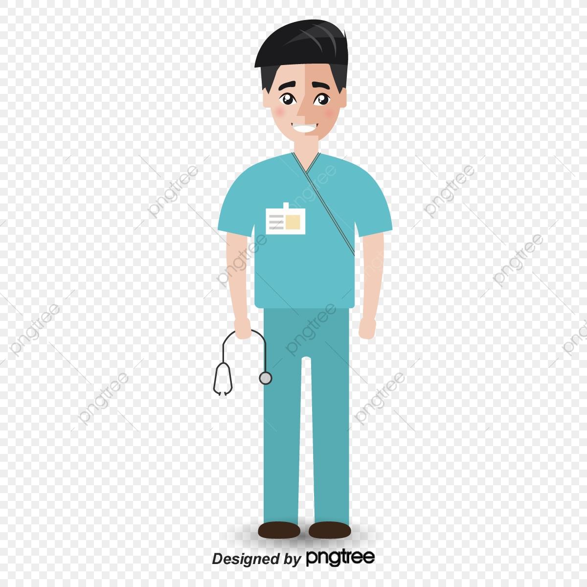 vector black and white Vector doctor perawat. Rata hijau laki doktor