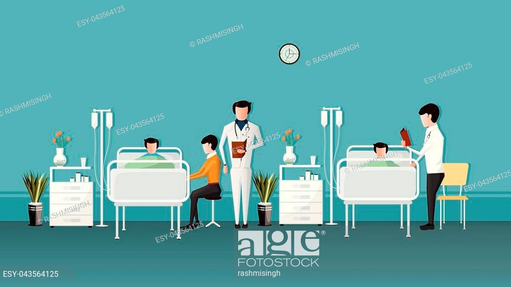 clip art black and white download Vector doctor room. Checking a patient in