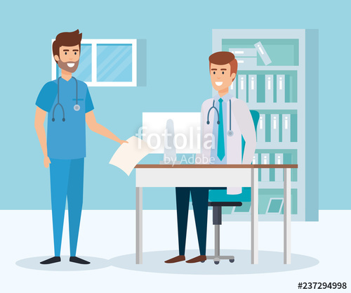 picture free stock And practitioner in consulting. Vector doctor room