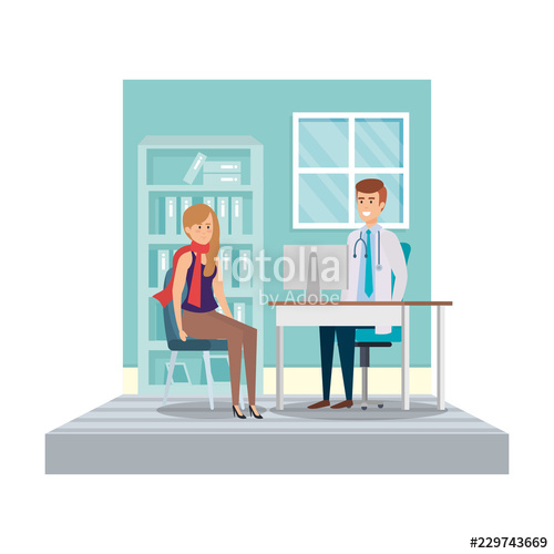 banner In consulting stock image. Vector doctor room