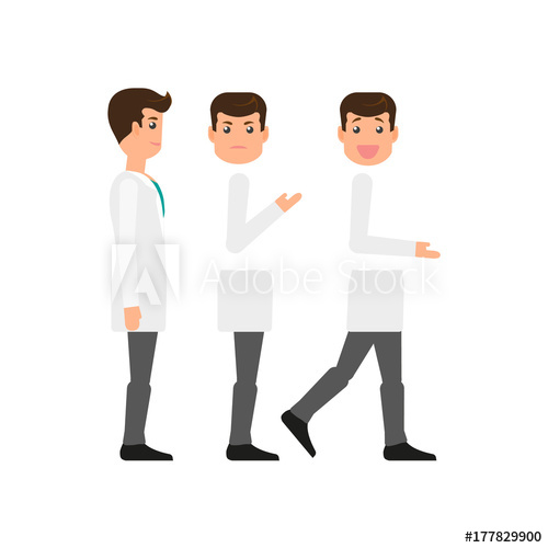 clip library stock Male character creation set. Vector doctor sad