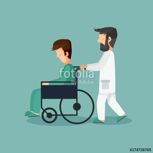 banner freeuse stock And patient in wheelchair. Vector doctor sad