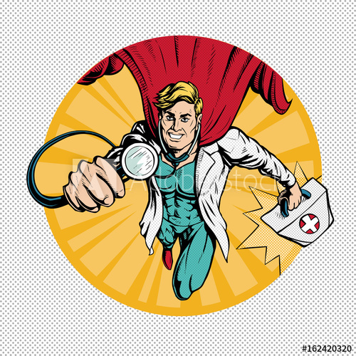 clip free download Super hero flies to. Vector doctor superhero