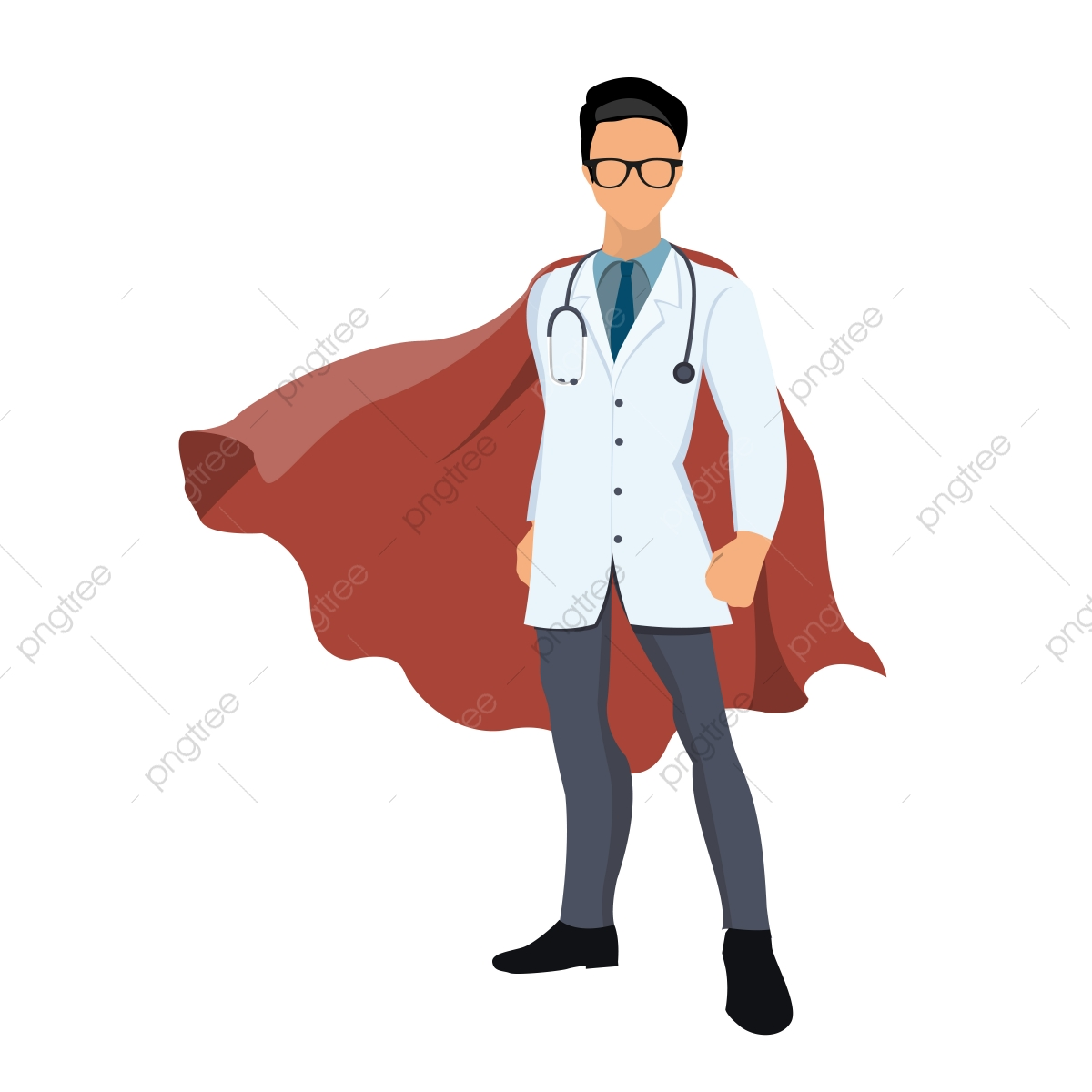 svg royalty free Cartoon Super Hero Doctor With Red Cape