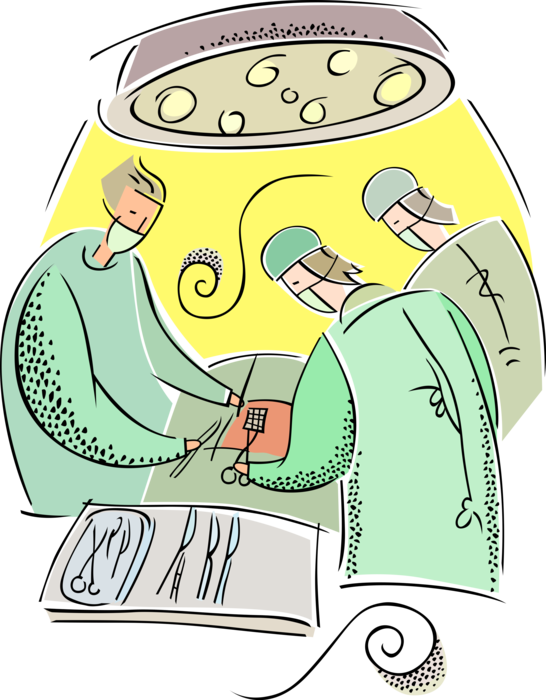 clipart library stock Physician surgeons operate on. Vector doctor surgeon